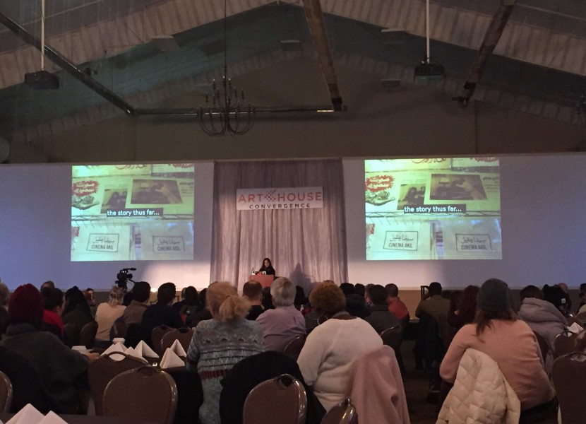Butheina Kazim, co-founder of Cinema Akil, delivered the keynote at the 2019 Annual Conference of the ArtHouse Convergence