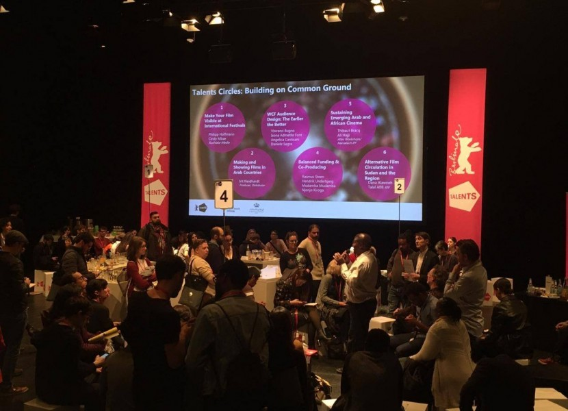Programs and Communications Manager Dana Alawneh and Sudan Film Factory 's Talal Afifi at Berlinale Talents Circles